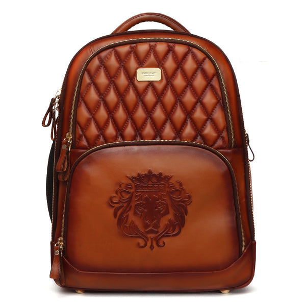Diamond Stitched Tan Leather Super Functional Backpack with Embossed Lion Logo by Brune & Bareskin