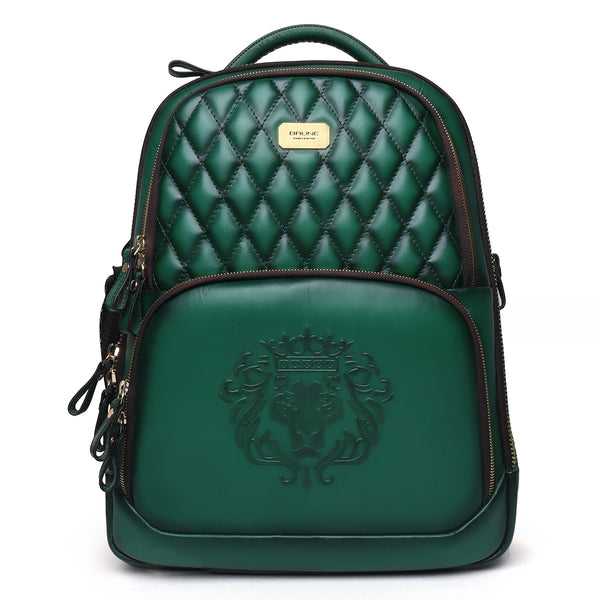 Green Genuine Leather Travel Backpack by Brune & Bareskin