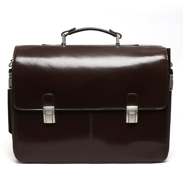 Brune Double Buckle Brown Leather Laptop Briefcase For Men