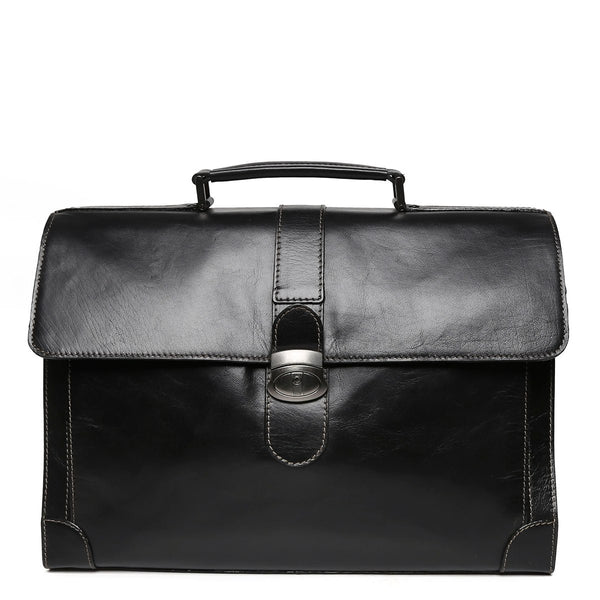 Brune Black Leather Laptop Briefcase For Men