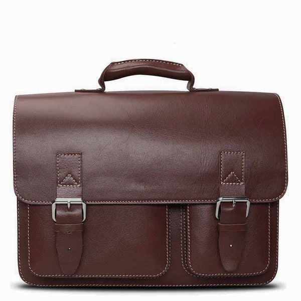 Brune Men Dark Brown Leather Laptop Bag