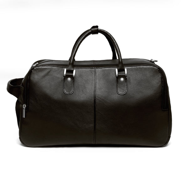 Dark Brown High Capacity Leather Travel Bag By Brune