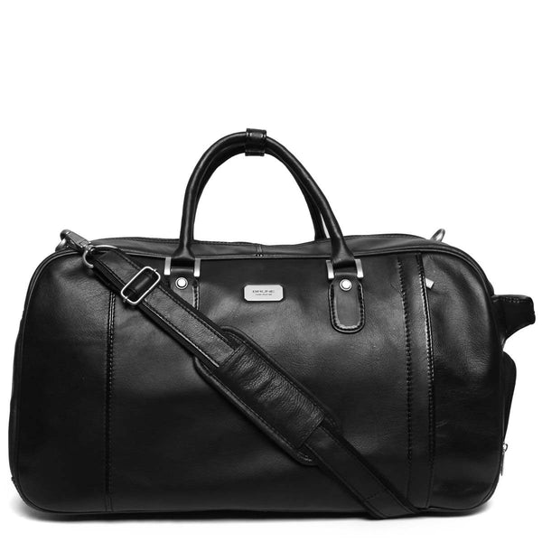 Black High Capacity Leather Travel Bag By Brune