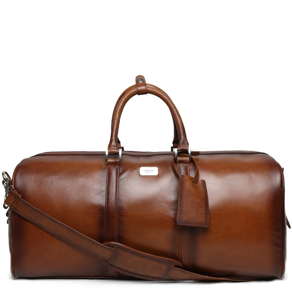 Slender | Tan Leather Duffle Bag By Brune