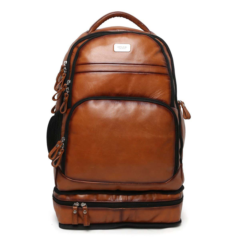 Tan Concealed Compartment Leather Travel Backpack By Brune