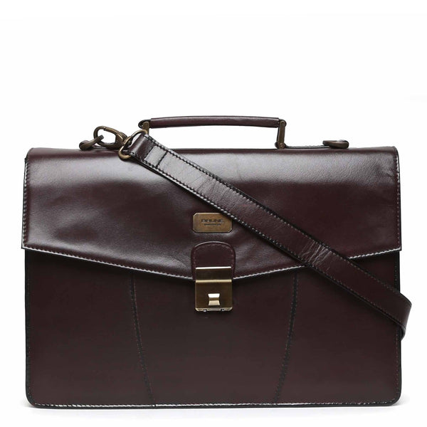 Brown Numeric Push-Button Lock Leather Office Briefcase By Brune