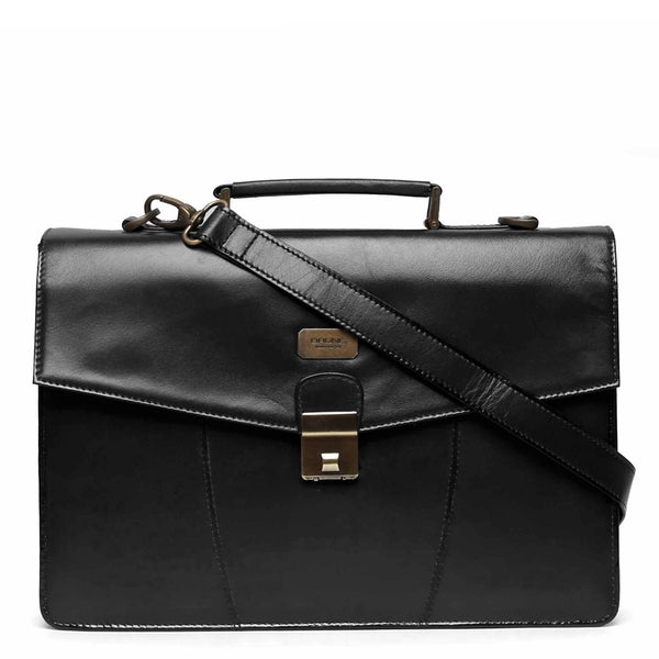 Black Numeric Push-Button Lock Leather Office Briefcase By Brune