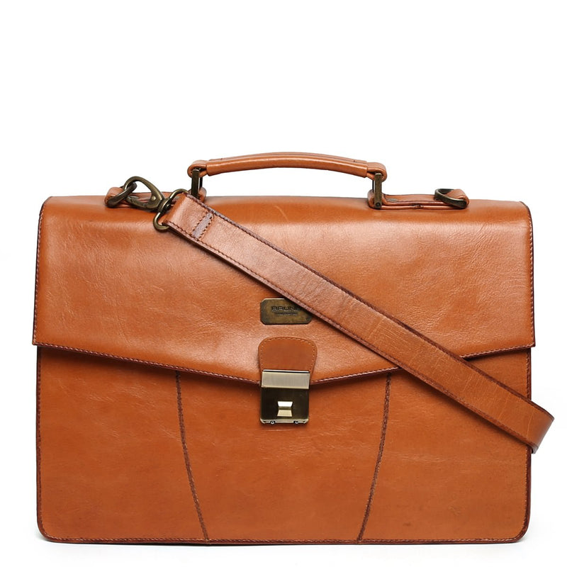 Tan Numeric Push-Button Lock Leather Office Briefcase By Brune