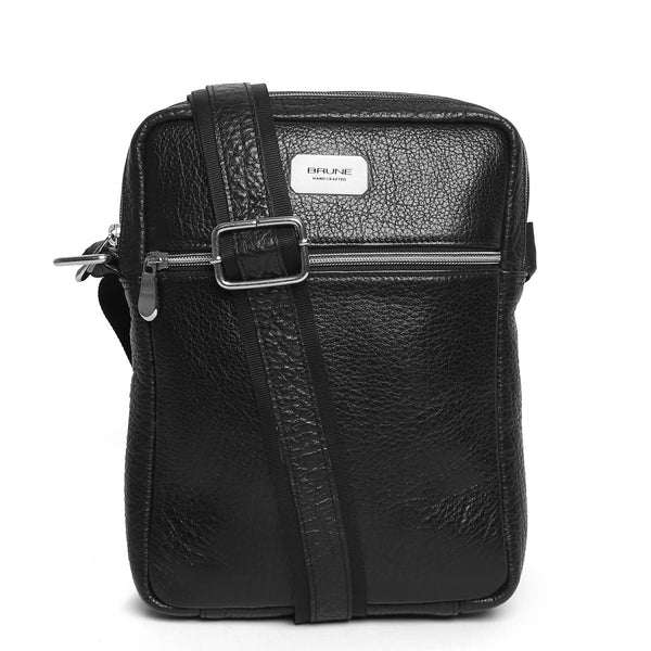 Black Textured Leather Crossboddy City Bag By Brune