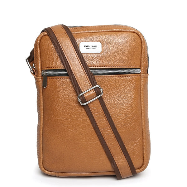 Tan Textured Leather Crossboddy City Bag By Brune