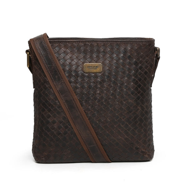Dark Brown Full Weaved Leather Crossbody City Bag By Brune
