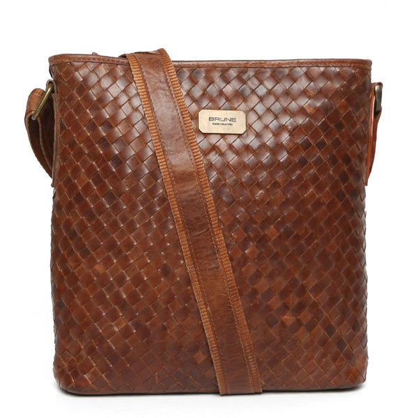 Tan Full Weaved Leather Crossbody City Bag By Brune