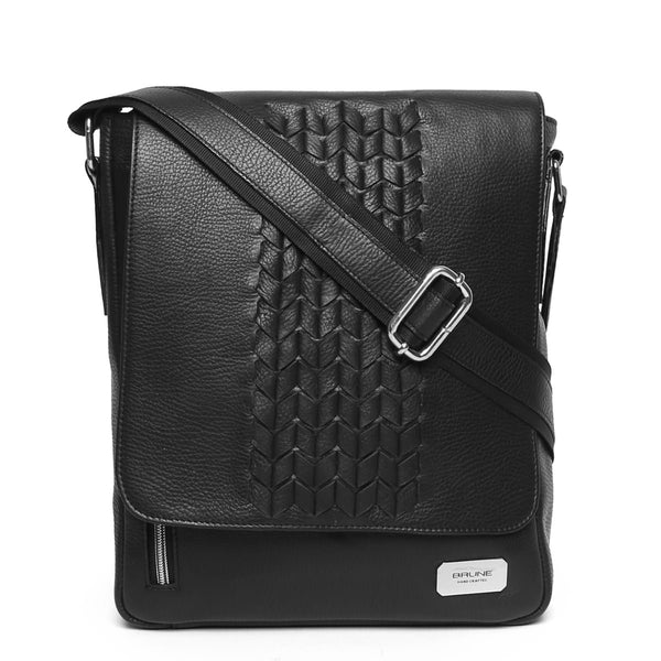 Black Zig-Zag Weaved Flapover Crossbody Bag By Brune