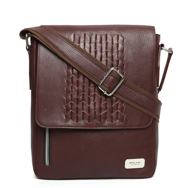 Wine Zig-Zag Weaved Flapover Crossbody Bag By Brune
