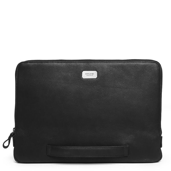 Black Grain Leather Sleek Laptop Sleeve By Brune