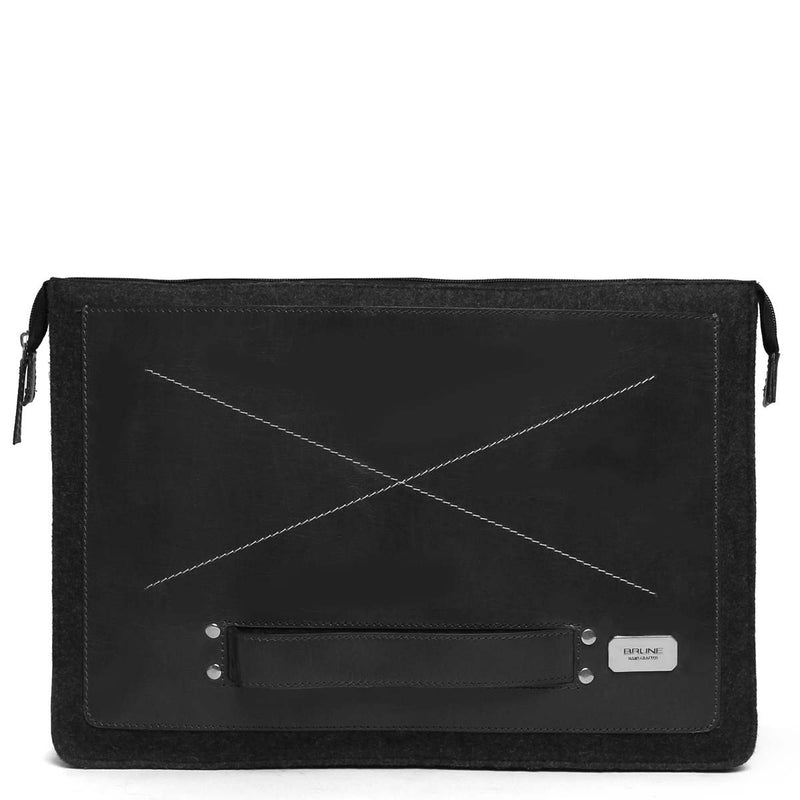 Black Chic Leather Laptop Sleeve By Brune