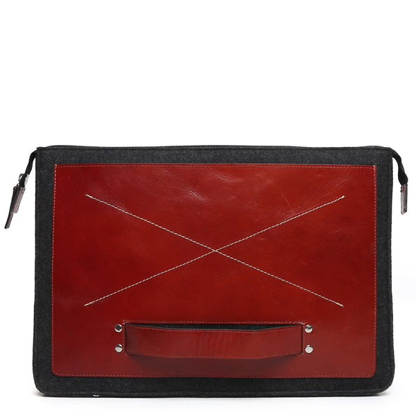 Red Chic Leather Laptop Sleeve By Brune
