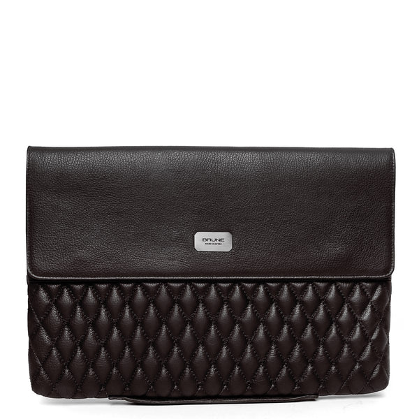 Brown Diamond Stitched Leather Laptop Sleeve By Brune