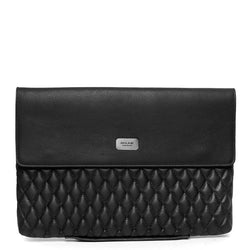 Black Diamond Stitched Leather Laptop Sleeve By Brune
