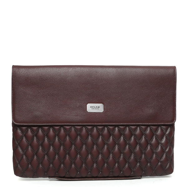 Wine Diamond Stitched Leather Laptop Sleeve By Brune