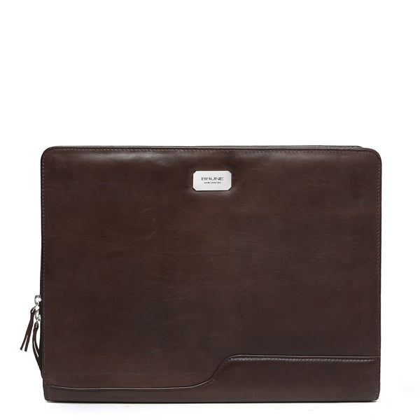 Vintage Brown Organizer Leather Laptop Sleeve by BRUNE