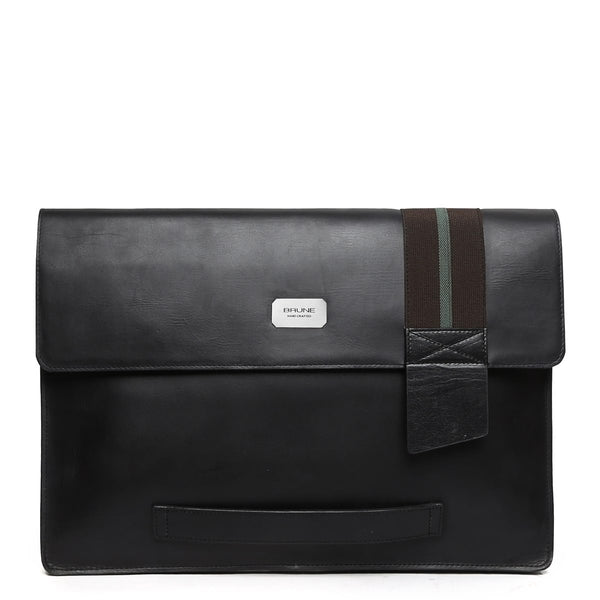 Lebanta| Black Leather Sleek Laptop Sleeve By Brune