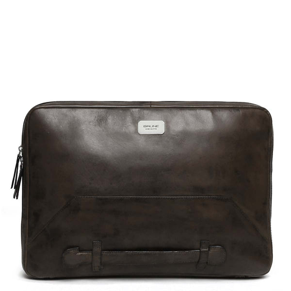 Graphite Tri-Fold Compartment Leather Laptop Sleeve By Brune
