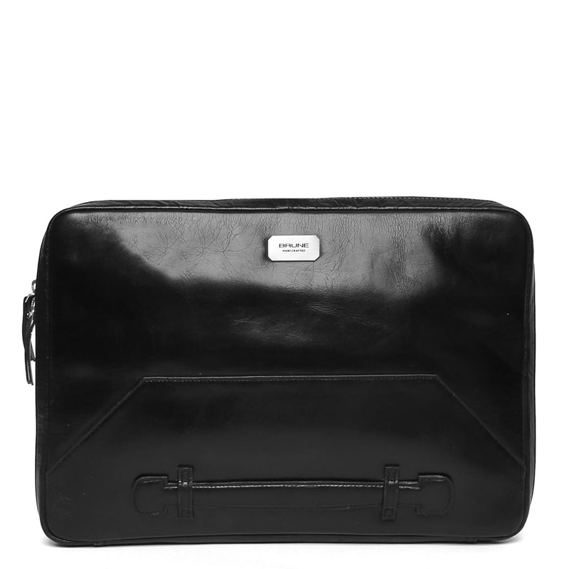 Black Tri-Fold Compartment Leather Laptop Sleeve By Brune