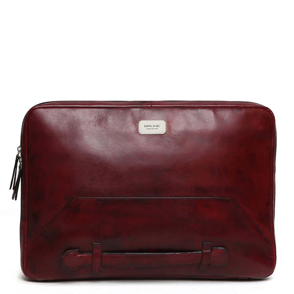 Wine Tri-Fold Compartment Leather Laptop Sleeve By Brune