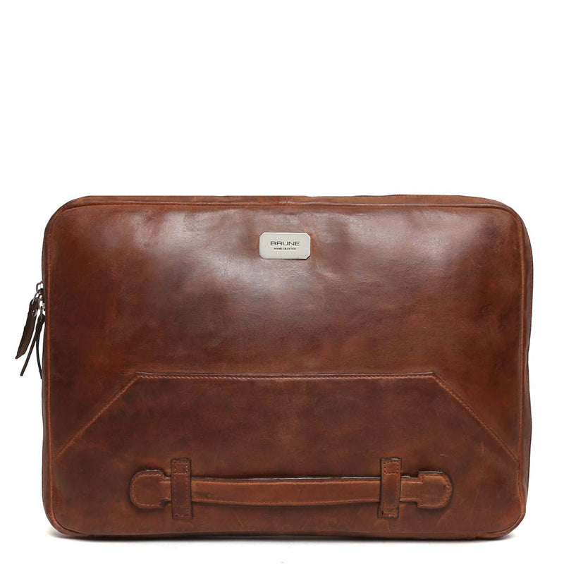 Tan Tri-Fold Compartment Leather Laptop Sleeve By Brune