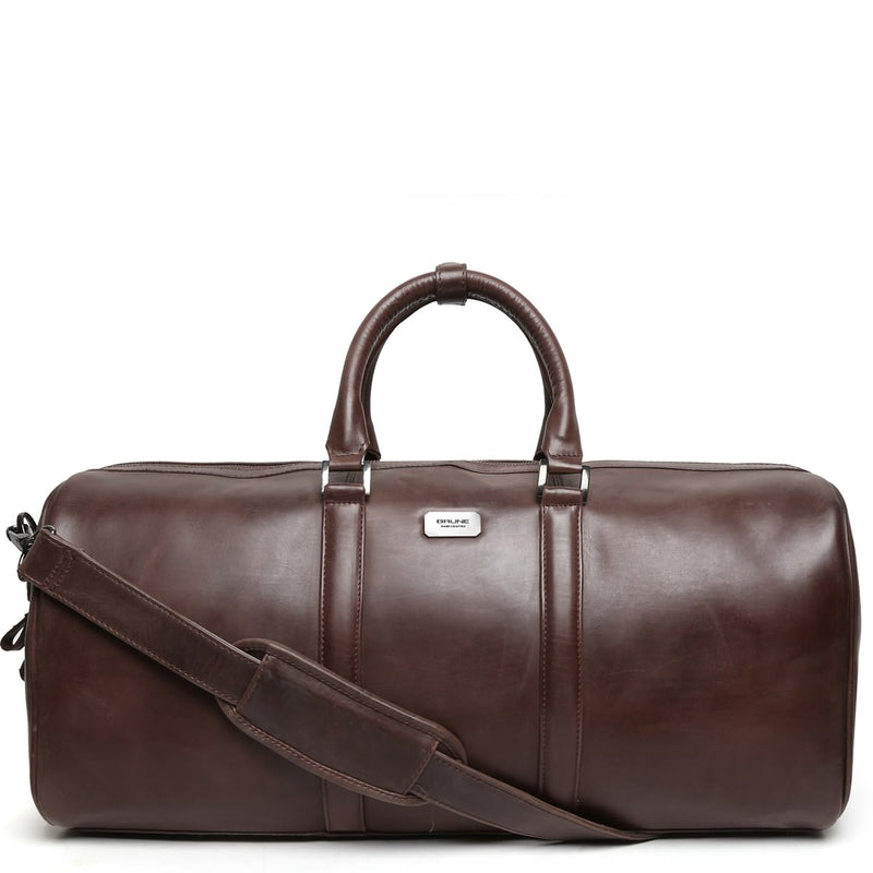 Brown Matte Finish Leather Travel Duffle Bag By Brune