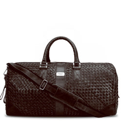 Brune Brown Leather Woven Detailed Duffle Bag