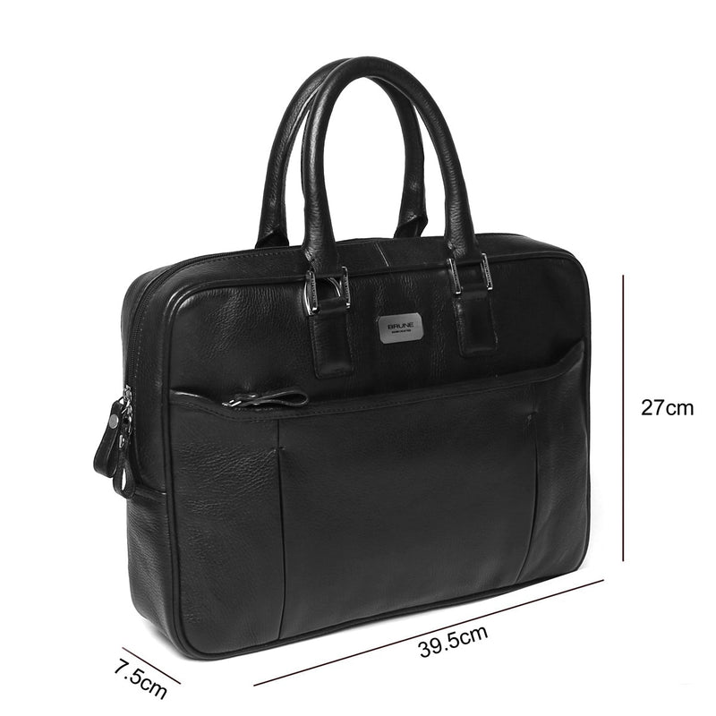 Black Classic Ladies Leather Laptop Briefcase By Brune