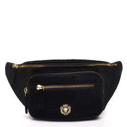 Black Velvet Multi Pockets Belt Bag by BARESKIN