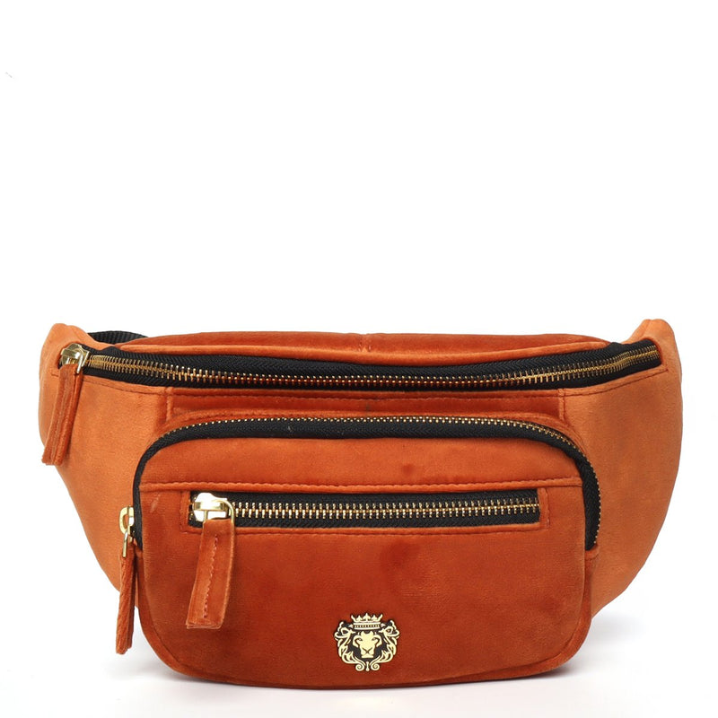 Orange Velvet Multi Pockets Belt Bag by BARESKIN