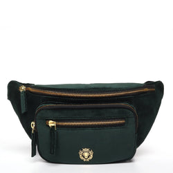 Green Velvet Multi Pockets Belt Bag by BARESKIN