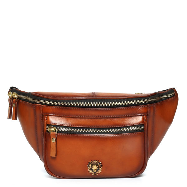 Tan Leather Multi Pockets Belt Bag by BARESKIN