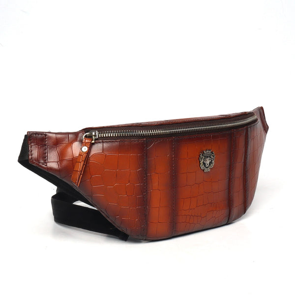 Tan Croco Leather Print Belt Bag by BRUNE & BARESKIN