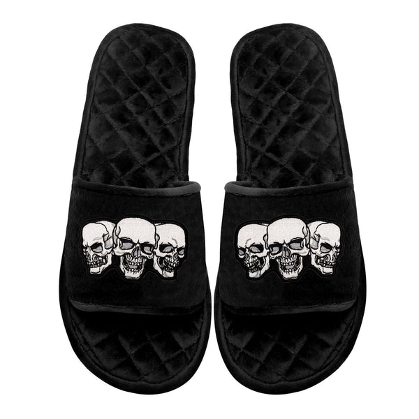 Black Velvet Multi-Skulls Embroidered Super Soft Slide-in Slippers By Bareskin