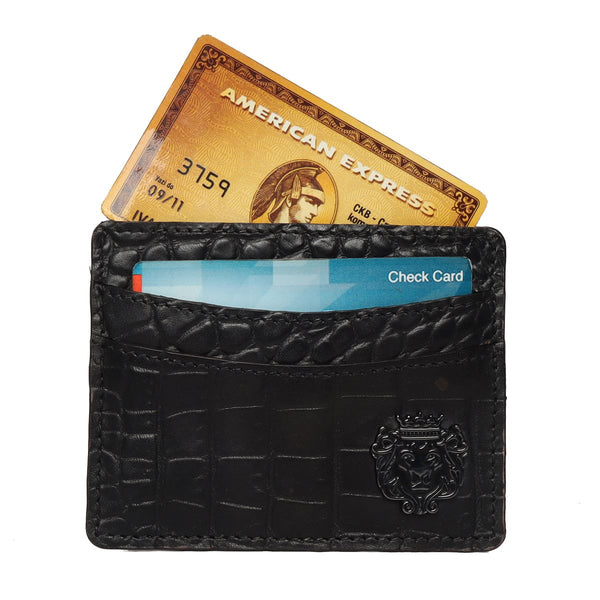 Black Croco Leather Card Holder With Gun Metal Lion Logo