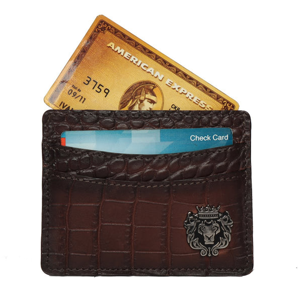 Brown Croco Leather Card Holder With Silver Finish Lion Logo by Brune & Bareskin