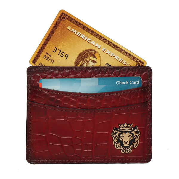 Wine Croco Leather Card Holder With Gold Finish Bareskin Metal Logo.