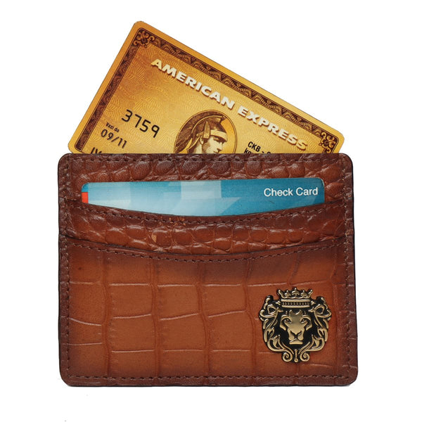 Tan Croco Leather Card Holder With Golden Metal Logo by Brune & Bareskin