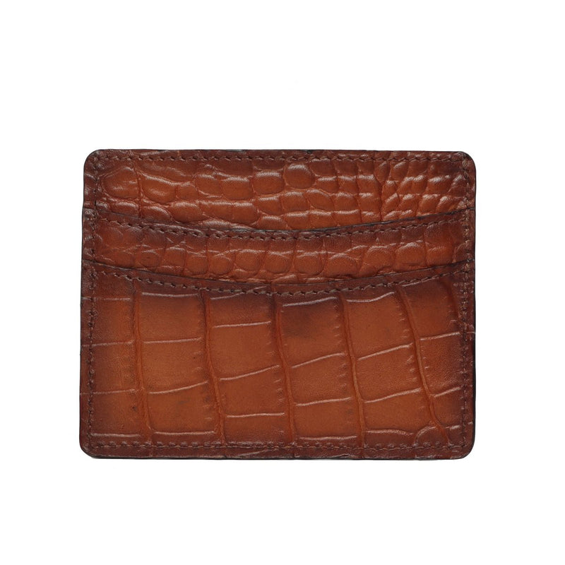 Tan Croco Leather Card Holder With Rose Gold Metal Logo.
