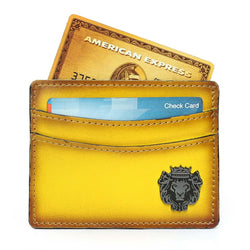 Yellow Hand Painted With Metal Lion Unisex Card Holder By Brune