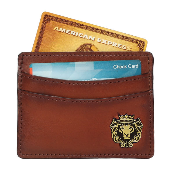 Tan Hand Painted Leather with Golden Finish Metal Lion Unisex Card Holder By Brune & Bareskin