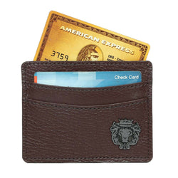 Dark Brown With Metal Lion Unisex Card Holder By Brune