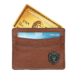Tan With Metal Lion Unisex Card Holder By Brune