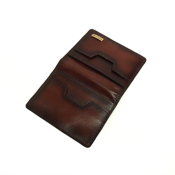 Foldable Brown Color Leather Card Holder for Men/Women