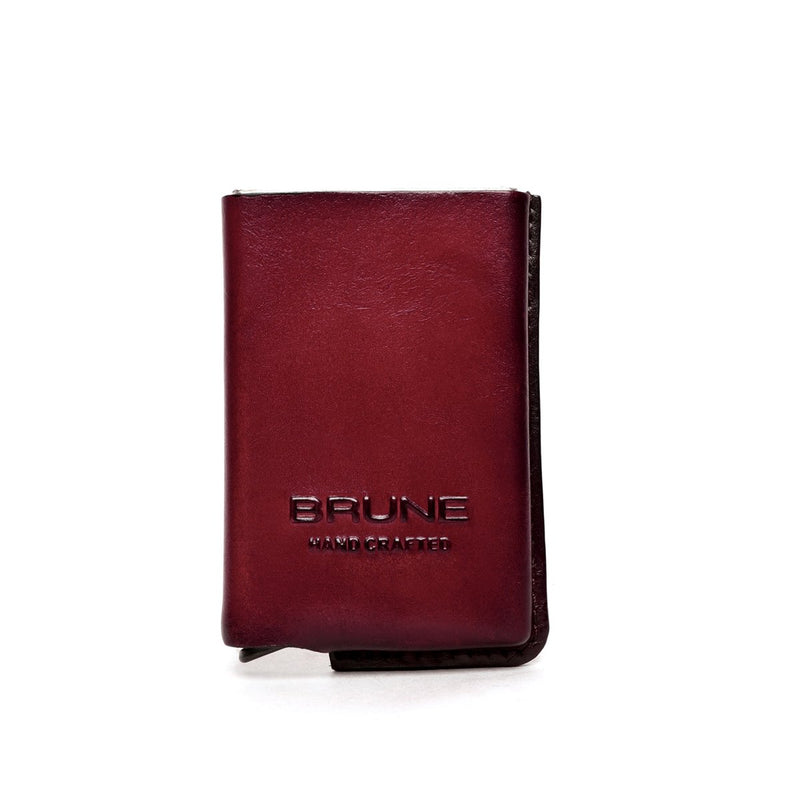 Brown Leather Hard Card Safe Case by BRUNE